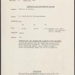 Image for K1896 - Condition and restoration record, circa 1950s-1960s