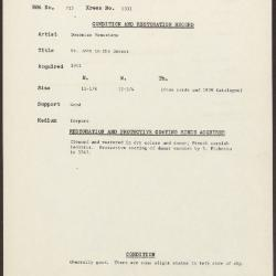 Image for K1331 - Condition and restoration record, circa 1950s-1960s