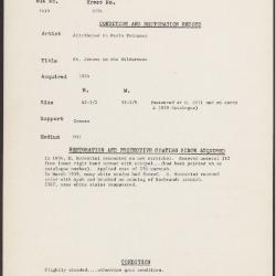 Image for K2074 - Condition and restoration record, circa 1950s-1960s