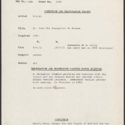 Image for K2066 - Condition and restoration record, circa 1950s-1960s