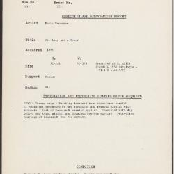 Image for K2073 - Condition and restoration record, circa 1950s-1960s