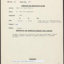 Image for K1360 - Condition and restoration record, circa 1950s-1960s