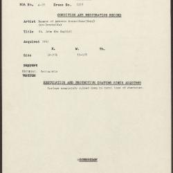 Image for K1253 - Condition and restoration record, circa 1950s-1960s