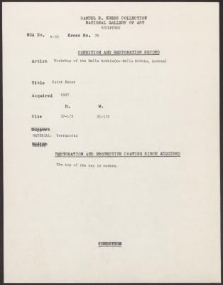 Image for K0026 - Condition and restoration record, circa 1950s-1960s