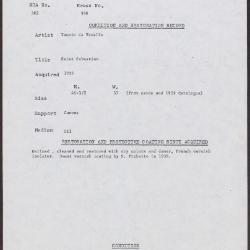 Image for K0348 - Condition and restoration record, circa 1950s-1960s