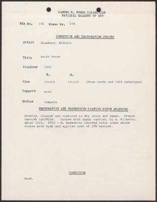 Image for K0178 - Condition and restoration record, circa 1950s-1960s