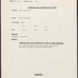 Image for K1243 - Condition and restoration record, circa 1950s-1960s
