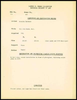 Image for K0149 - Condition and restoration record, circa 1950s-1960s