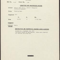 Image for K1305 - Condition and restoration record, circa 1950s-1960s