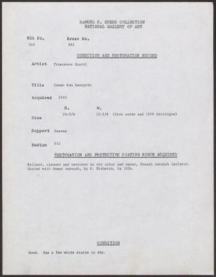 Image for K0262 - Condition and restoration record, circa 1950s-1960s