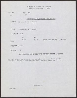 Image for K0213 - Condition and restoration record, circa 1950s-1960s