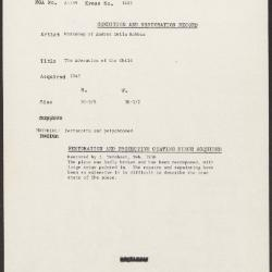 Image for K1403 - Condition and restoration record, circa 1950s-1960s
