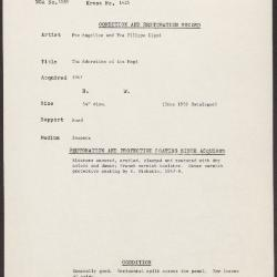 Image for K1425 - Condition and restoration record, circa 1950s-1960s