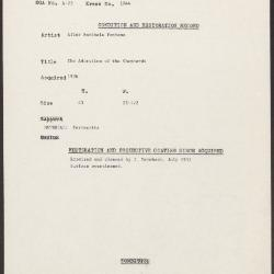 Image for K1044 - Condition and restoration record, circa 1950s-1960s