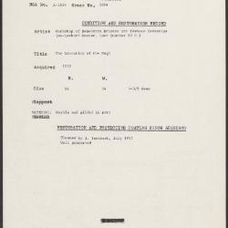 Image for K1884 - Condition and restoration record, circa 1950s-1960s