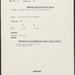 Image for K0288 - Condition and restoration record, circa 1950s-1960s