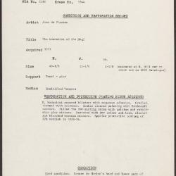 Image for K1944 - Condition and restoration record, circa 1950s-1960s