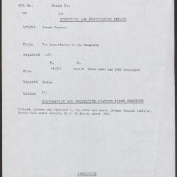 Image for K0258 - Condition and restoration record, circa 1950s-1960s