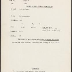 Image for K2169 - Condition and restoration record, circa 1950s-1960s