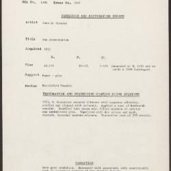 Image for K1942 - Condition and restoration record, circa 1950s-1960s