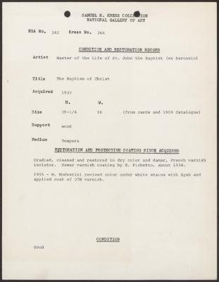 Image for K0264 - Condition and restoration record, circa 1950s-1960s