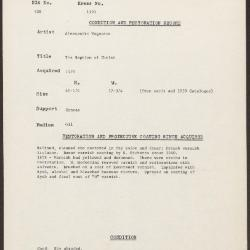 Image for K1191 - Condition and restoration record, circa 1950s-1960s