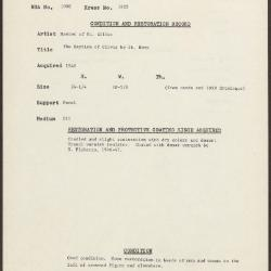 Image for K1422 - Condition and restoration record, circa 1950s-1960s