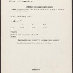 Image for K0600 - Condition and restoration record, circa 1950s-1960s
