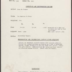 Image for K1945 - Condition and restoration record, circa 1950s-1960s