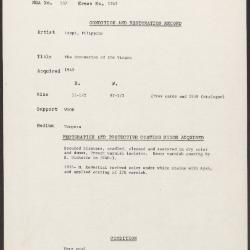 Image for K1242 - Condition and restoration record, circa 1950s-1960s