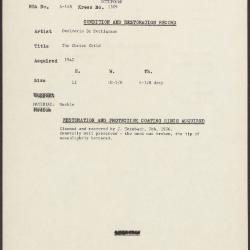 Image for K1309 - Condition and restoration record, circa 1950s-1960s