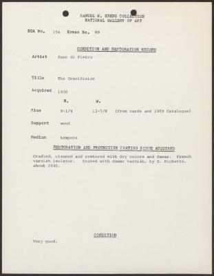 Image for K0088 - Condition and restoration record, circa 1950s-1960s