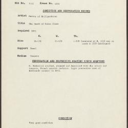 Image for K1859 - Condition and restoration record, circa 1950s-1960s