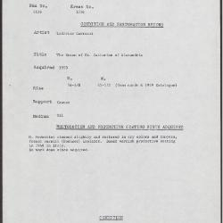 Image for K1756 - Condition and restoration record, circa 1950s-1960s