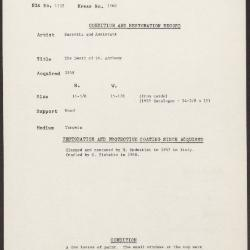 Image for K1568 - Condition and restoration record, circa 1950s-1960s