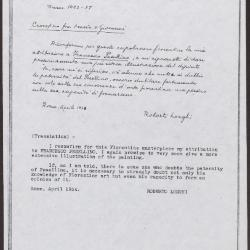 Image for K0230 - Expert opinion by Longhi, 1934