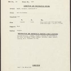 Image for K1369 - Condition and restoration record, circa 1950s-1960s