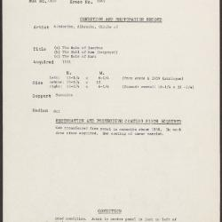 Image for K1849 - Condition and restoration record, circa 1950s-1960s