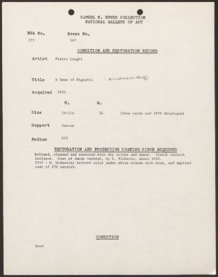 Image for K0147 - Condition and restoration record, circa 1950s-1960s