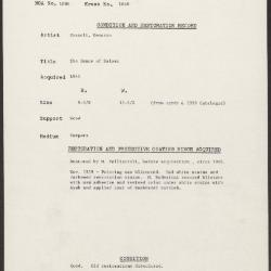 Image for K1648 - Condition and restoration record, circa 1950s-1960s