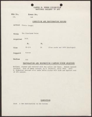Image for K0146 - Condition and restoration record, circa 1950s-1960s