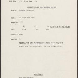 Image for K1970 - Condition and restoration record, circa 1950s-1960s