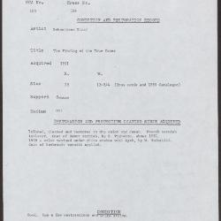 Image for K0164 - Condition and restoration record, circa 1950s-1960s