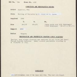 Image for K1387 - Condition and restoration record, circa 1950s-1960s