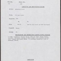 Image for K1233 - Condition and restoration record, circa 1950s-1960s