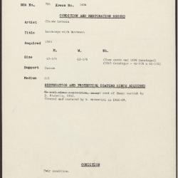 Image for K1406 - Condition and restoration record, circa 1950s-1960s