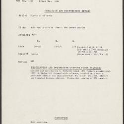 Image for K1684 - Condition and restoration record, circa 1950s-1960s