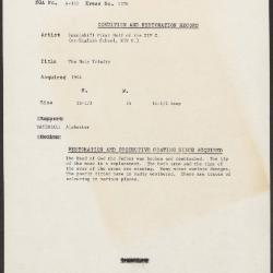 Image for K1376 - Condition and restoration record, circa 1950s-1960s