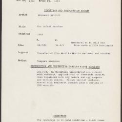 Image for K1659 - Condition and restoration record, circa 1950s-1960s