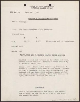 Image for K0196 - Condition and restoration record, circa 1950s-1960s